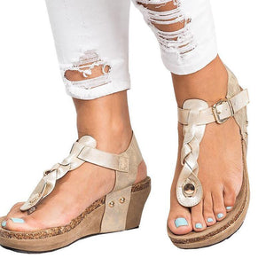 Large Size Adjustable Buckle Wedge Sandals