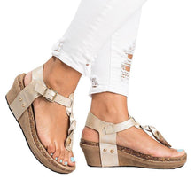 Load image into Gallery viewer, Large Size Adjustable Buckle Wedge Sandals