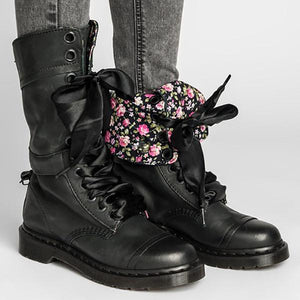 Women Vintage Lace-up Leather Mid-Calf Chunky Heel Boots