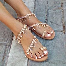 Load image into Gallery viewer, Women Leather Sandals Casual Pearls Shoes