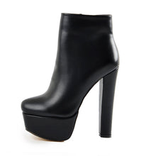 Load image into Gallery viewer, Black Platform Round Toe Chunky Heel Elastic Ankle Boots