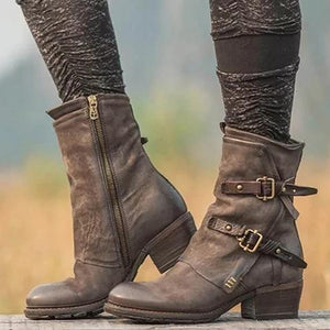 Women Vintage Buckle Boots Side Zipper Round Toe Boots