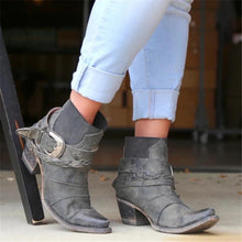 Load image into Gallery viewer, WOMEN VINTAGE LOW HEEL SLIP-ON COMFY PU ANKLE BOOTS