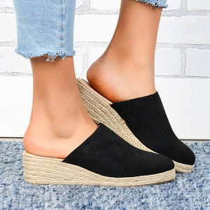 Mule Espadrille Wedges Suede Closed Toe Women Sandals