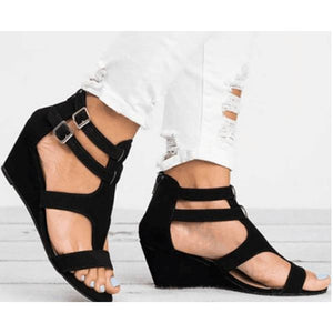 Women Large Size PU Fashion Wedge Adjustable Buckle Hollow Out Sandals