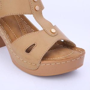 Women Casual Chunky Heel Buckled Sandals