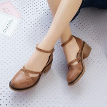 Load image into Gallery viewer, Vintage Ankle-Strap Round Toe Hollow Chunky Mary Jane Sandals