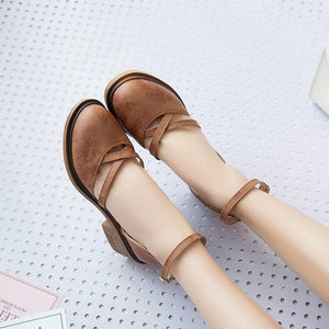 Vintage Ankle-Strap Round Toe Hollow Chunky Mary Jane Sandals