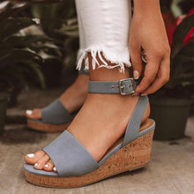 Load image into Gallery viewer, Fashion Ankle-Strap Buckle Platform Wedge Sandals