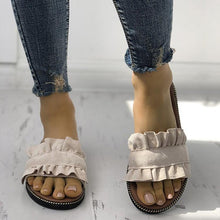 Load image into Gallery viewer, Casual Ruffles Hem Slide Outdoor Flat Slippers