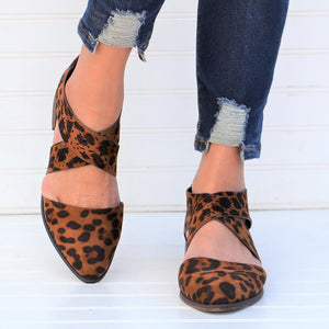 Tan Leopard Wing Crisscross Sandals