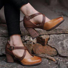 Load image into Gallery viewer, Brown Pointy Toe Ankle-Strap Buckle High Chunky Heels