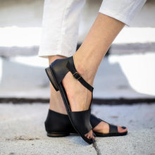 Load image into Gallery viewer, Black Asymmetric Ankle Strap Simple Sandals