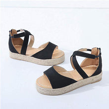 Load image into Gallery viewer, Flocking Cross-Band Low Heel Platform Women Sandals
