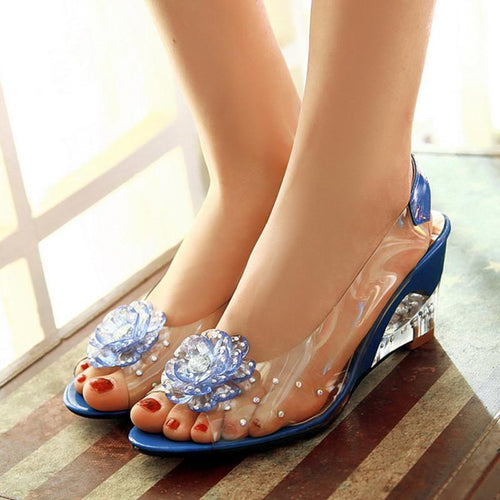 Girly Crystal See-Through Rhinestone Flower Wedges Sandals