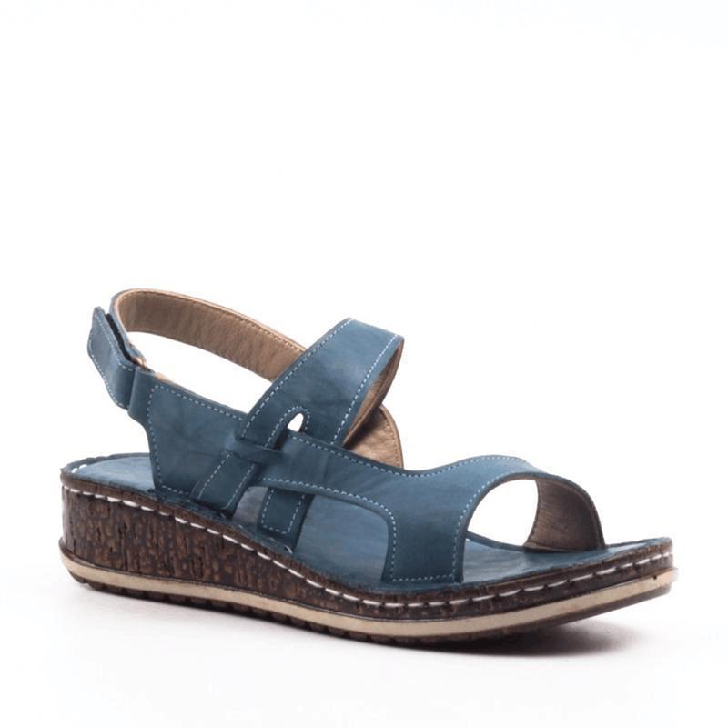 Low Wedge Heel Hook&Loop Hollow Open Toe Sandals