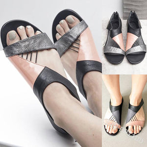 Chic Fashion Open Toe Color Block Flat Sandals