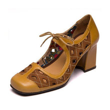 Load image into Gallery viewer, Women Color Block Hollow-Out Lace-Up Heels Mary Jane Sandals