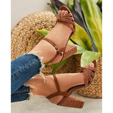 Load image into Gallery viewer, Women Summer Interweave Casual Buckle High Heels Sandals