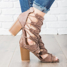 Load image into Gallery viewer, Women Dress Summer Crisscross Lace-Up High Chunky Sandals