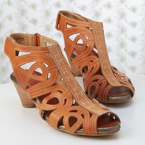 Brown Vintage Hollow-Out Peep-Toe Medium Heels Magic Tape Sling-Back Sandals