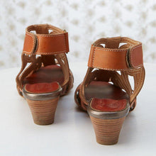 Load image into Gallery viewer, Brown Vintage Hollow-Out Peep-Toe Medium Heels Magic Tape Sling-Back Sandals