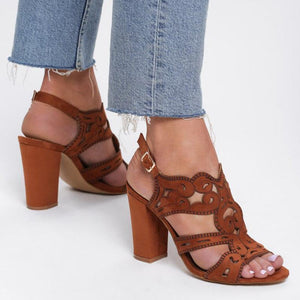 Brown Women Buckle Vintage Hollow High Chuny Heel Sandals