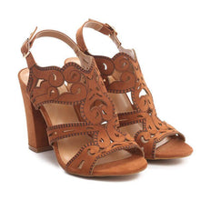 Load image into Gallery viewer, Brown Women Buckle Vintage Hollow High Chuny Heel Sandals