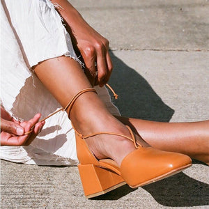 Lace-Up Medium Chunky Heel Point Toe Sandals