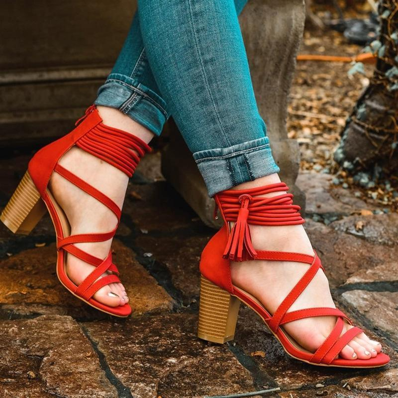Summer Fashion Lace Tassle Detail Hollow High Chunky Women Sandals