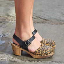 Load image into Gallery viewer, Color Block Leopard Print Round Toe Buckle Platform Sandals