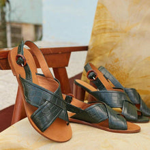 Load image into Gallery viewer, Cross-Band Buckle Strap Flat Summer Peep Toe Sandals
