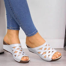 Load image into Gallery viewer, Hollow Peep Toe Summer Wedges Mules Sandals
