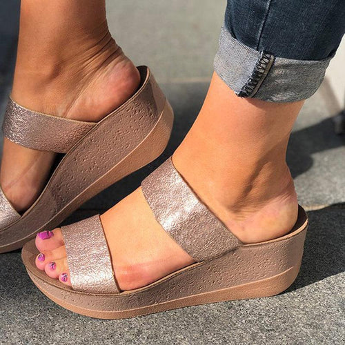 Women Ladies Slip On Sandal Shoes Open Toe Wedge Sandals