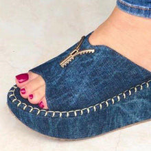 Load image into Gallery viewer, Women Casual Summer Slip On Zipper Wedge Sandals