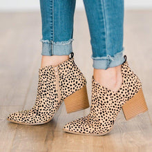Load image into Gallery viewer, Pointed Toe Leopard Zipper Casual Spring/Fall Chunky Heel Ankle Boots
