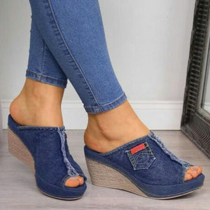 Summer Denim Patchwork Peep Toe Wedges Slip-On Sandals