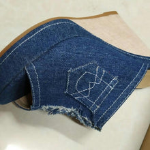 Load image into Gallery viewer, Summer Denim Patchwork Peep Toe Wedges Slip-On Sandals