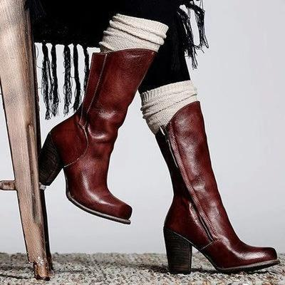 Vintage Side-Zipper High Chunky Artificial Leather Mid-Calf Boots