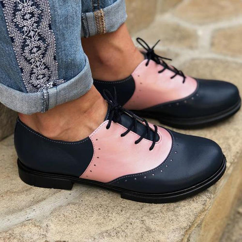 Flats Artificial Leather Lace-Up Comfy Oxford Shoes