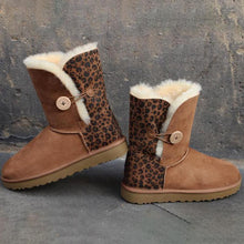 Load image into Gallery viewer, Brown Leopard Print Buttoned Plus Velour Mid-Calf Boots