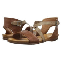 Load image into Gallery viewer, Vintage Crossed Adjustable Buckle Shoes Color Block Flats Sandals Plus Sizes