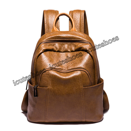 Stylish Shoulder Bag Girl's New Soft Leather Student Backpack Bag