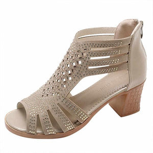 Ladies Peep Toe Hollow Out Sandals