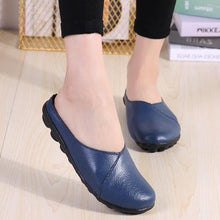 Load image into Gallery viewer, Large Size Women Pure Color Soft Sole Casual Round Heel  Flat Shoes Slip-on  Loafers