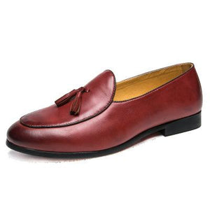 Unisex Large Size Artificial Leather Tassels Flat Heel Non-slip Oxford Shoes
