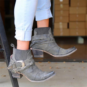 WOMEN VINTAGE LOW HEEL SLIP-ON COMFY PU ANKLE BOOTS