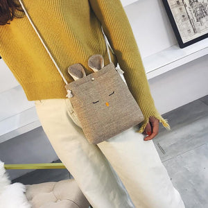 Creative Rabbit Linen Messenger Bag Phone bag