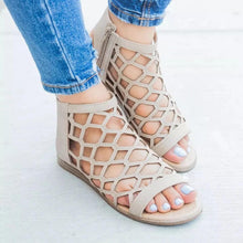 Load image into Gallery viewer, Women Hollow Zipped Peep Toe Flat Sandals