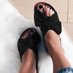 Low Flat Heels Bowknot Flocking Slip-Ons Sandals